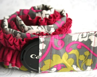 Ruffled Camera Strap Cover Padded with Lens Cap Pocket - Green and Pink Damask with Pink Ruffle- MADE TO ORDER