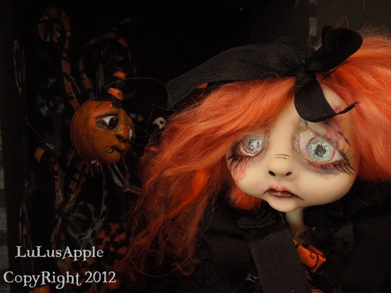 Halloween Art Doll Gothic spooky wall hanging shadowbox doll Baen RESERVED