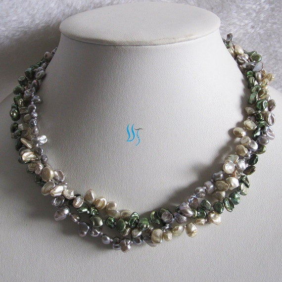 Multi Row Pearl Necklace: Pearl Necklace 18 Inches 3 Row Small Multi Color By