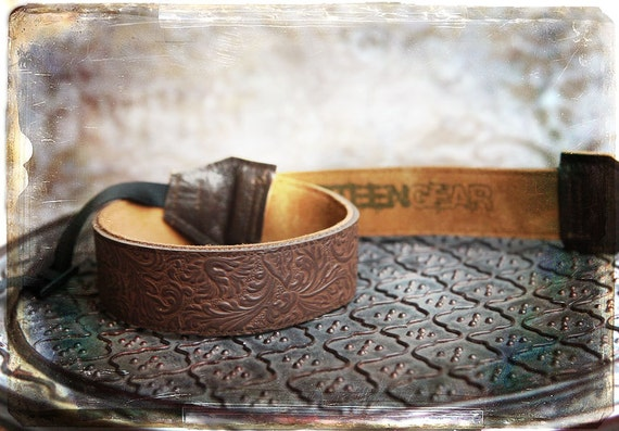 NEW Design -  Floral Embossed All Leather and Suede Camera Strap