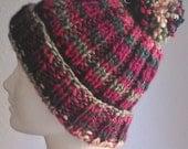 Holiday Hand Knit Pom Pom Hat