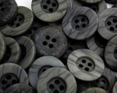 15 Dark Gray Vintage Buttons Wood Grain 25mm 4 Hole New Old Stock