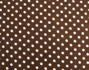 Brown and white dotted cotton flannel Snuggle sewing and quilting flannel fabric 100% cotton 1 Yard or more