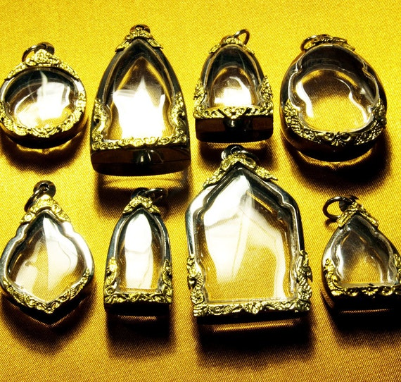 Pendant Cases, 8 Assorted Containers, Gold Embellishment on Silver Tone, Clear Blank Lockets, Shadow Box, Miniatures on Necklaces