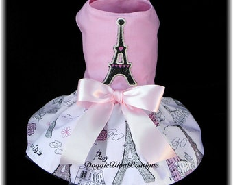 Dog Dress - Paris Eiffel Tower - Pink Dog Dres - Medium