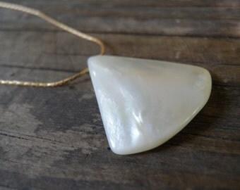 Geometric Necklace Triangle Pendant, Seashell Pendant, Long Necklace, Gold Filled, White Minimalist Pendant, Delicate, Nautical Jewelry