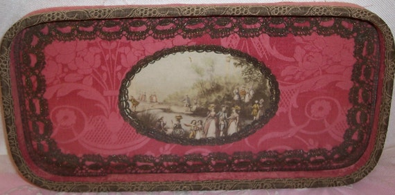 Reserved RedShoe9Ballet...ANTIQUE/French Pink Damask SILK, Metallic Lace & Lithograph Textile Vanity Tray