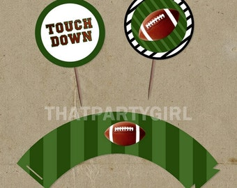 FOOTBALL Party  Cup Cake Wrappers and Toppers - DIY digital U Print