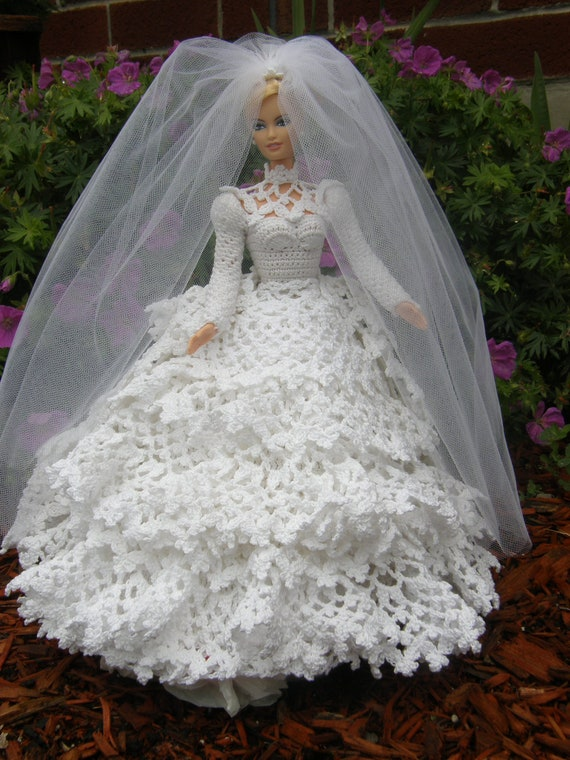 Items similar to crochet barbie wedding dress on etsy for Crochet wedding dress patterns