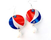 Pepsi Cola Patriotic Jewelry Handmade Women Gift Red White Blue Soda Can Earrings Eco Friendly Aluminum Can - E52