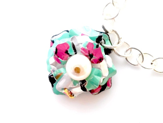 FLASH SALE Recycled Arizona Tea Can Freshwater Pearl Necklace Teen Girl Jewelry Teen Gift Women Sale Jewelry Trending Jewelry R30 N02