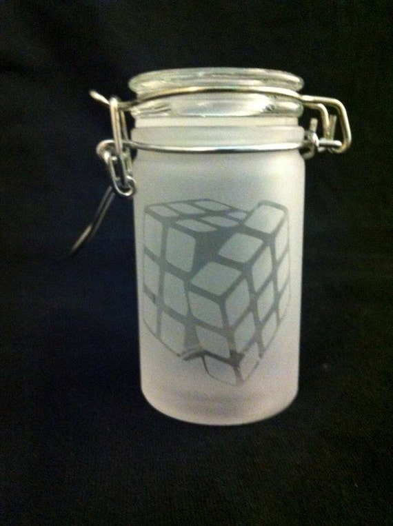 Etched Rubik's Cube Airtight Glass Clasp Jar