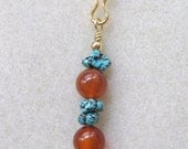 Turquoise & Carnelian Saddle Charm, Purse Charm, Key Chain Charm