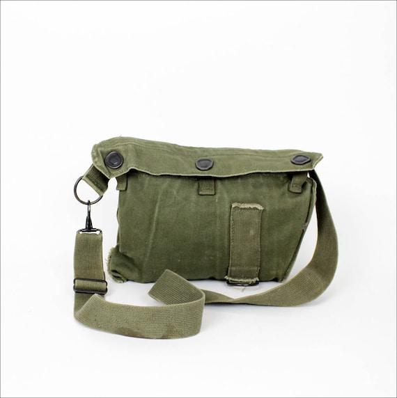 army green canvas satchel / military bag
