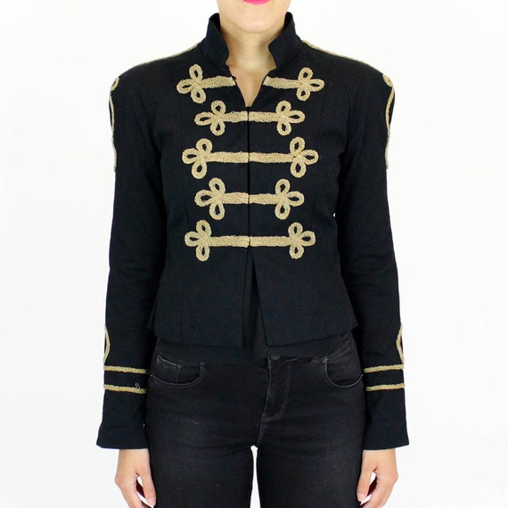 marching band jacket S / gold frog fitted black blazer