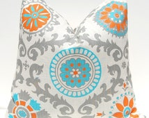 Turquoise and Orange Pillow Covers - 18 x 18 - Mandarin Rosa - Southwestern Decor - Turquoise Pillow Cover - Suzani Pattern on Off White