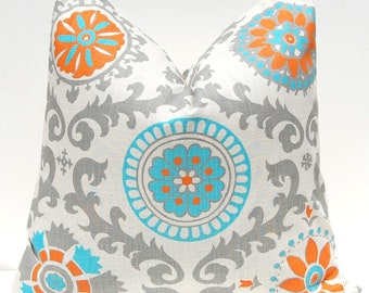 One Throw Pillow Cover - Orange Pillow Cover - - Decorative Pillow Cover - Southwestern Decor - Turquoise Pillow Cover - Sofa Pillow Covers