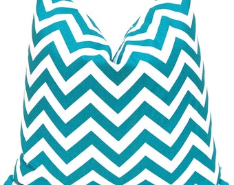 Turquoise Chevron Pillow Covers - Pair of Two - Turquoise Pillow Covers - Teal Pillow Covers - Turquoise and White Chevron Pillow Covers