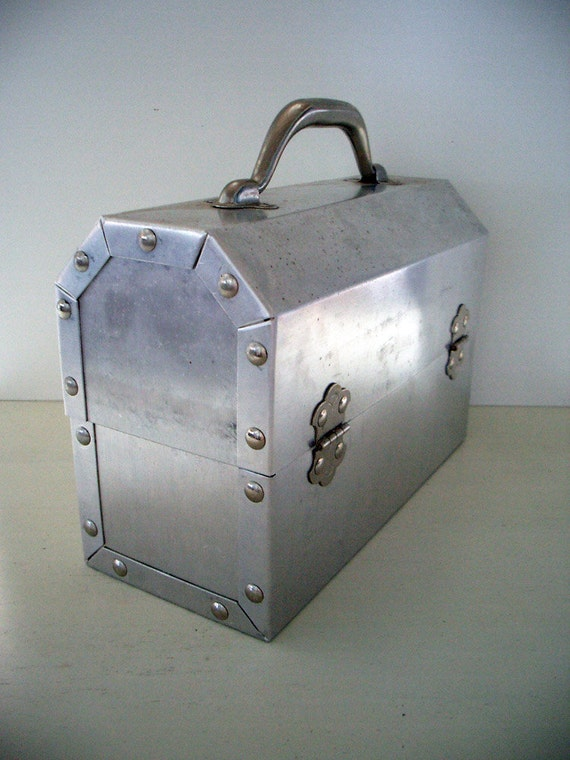 RESERVED Miner's Riveted Aluminum Lunchbox by L. May MFG