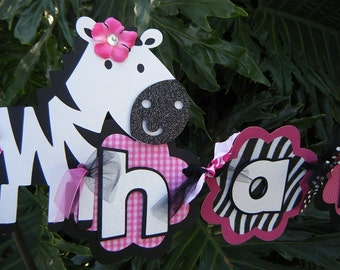 """Zebra Birthday Party Happy 1st Birthday BANNER  in Hot Pink and Black and White -""""Zebra-licious"""""""