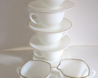 Vintage Corning Dinnerware White Glass Teacups with matching Cream and Sugar Set
