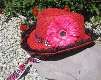 Cowgirl Hat -  Red, Hot Pink  and Black - Girls Cowboy Hat - Girls Western Theme Party - Style CB43
