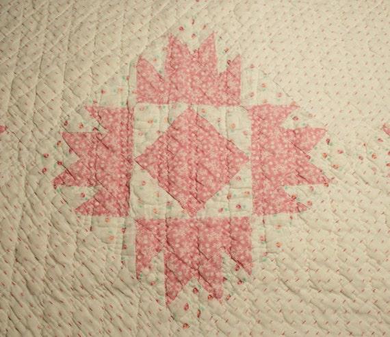 Primitive Pink Calicos Vintage Cutter Quilt Piece