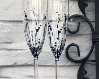 MADE to ORDER , Champagne Flutes, Set of 2 Hand painted