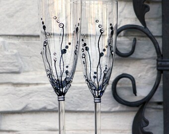 Wedding Glasses, Champagne Flutes, Champagne Glasses, Set of 2 Hand painted MADE to ORDER