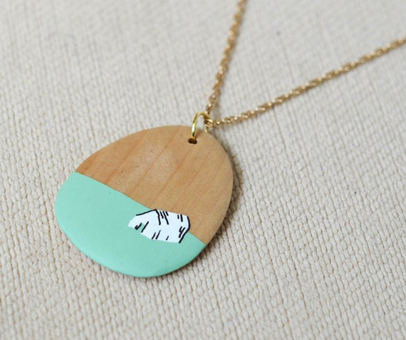 polar cabin pendant necklace - peppermint and white - by elizabeth pawle - hand illustrated pendant