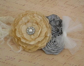 Singed Baby Headbands, Vintage Inspired Headband Singed Satin Rosette with Blingy Button Detail Fascinator Photo Prop NO.12-46