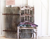 No. 43: Distressed & Chippy Painted Chair, bold fabric, floral, pale pink, vintage