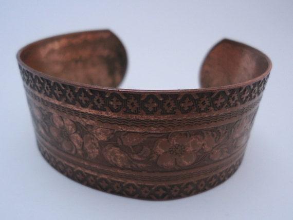 Vintage Copper Cuff Bracelet Floral Geometric Design