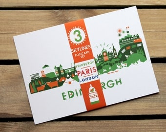 Skyline Postcard Set, London, Edinburgh and Paris