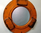 Orange Locking Ring Hub Mirror - Antique Foundry Pattern Mirror