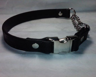 Leather Martingale Dog Collar with Side Release Snap Buckle - Large Width