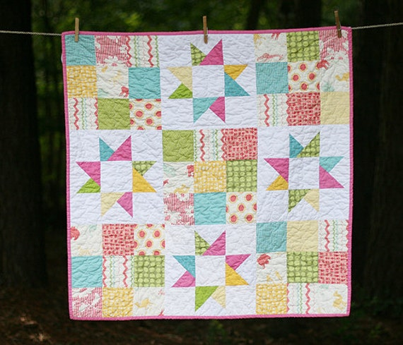 READY TO SHIP - Stars and Squares Baby Quilt