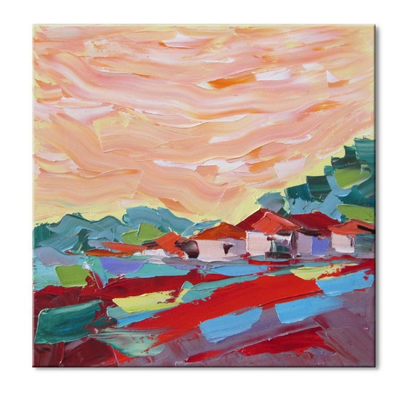 Red village  -  FREE SHIPPING - Original Impasto Oil Painting on Canvas Palette Knife - by SOLOMOON - ready to hang 16x16