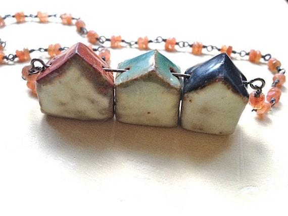 Three-house Necklace No. 1- stoneware, oxidized silver, and sunstone