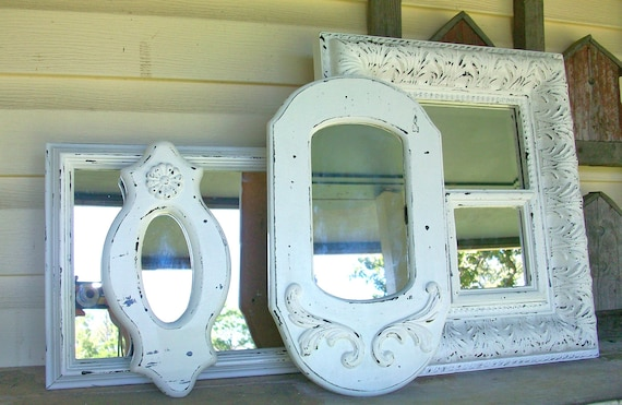 5 Vintage Shabby Chic Chippy White Wall Mirrors