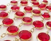 """Reserved - Vintage Ruby Red Swarovski Gold Bezel Set Crystal Swan 36"""" Long Necklace"""