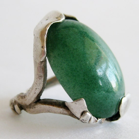 Vintage 50s Sterling Silver Mid Century Modernist Studio Jewelry Serpentine Green Chrysoprase Ring size 5 1/2