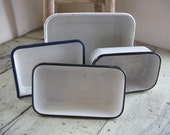 rustic porcelain enamelware pan collection french farmhouse cottage shabby kitchenware