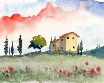 italian watercolor landscape- Tuscan Spring (II)- fine art print