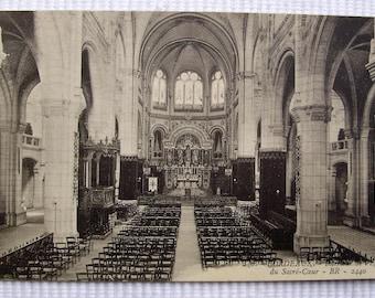 Bordeaux, France 'Inside Eglise du Sacré-Coeur - Unused Vintage French Postcard