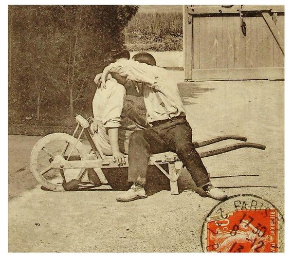 Antique French Postcard - A Kiss in the Wheelbarrow