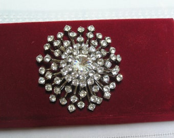 Vintage Rhinestone Blossom Wedding Sparkling Brooch