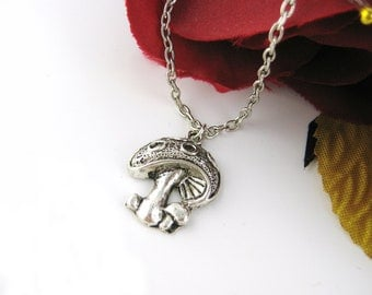 Silver Mushroom Necklace - Mushroom Jewelry Alice Wonderland Charm Necklace Pendant