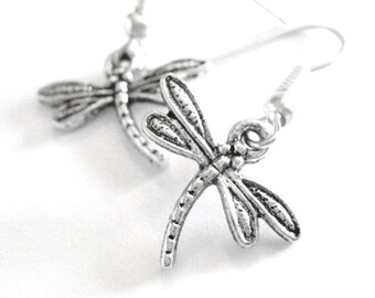 Dragonfly Jewelry - Dragon Fly Jewelry - Sterling Silver Dragonfly Earrings - Clip On Earings - Christmas Stocking Stuffer Gift For Her 050