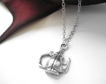 Vintage Style Teakettle Silver Charm Necklace